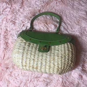 Handbags - Straw Basket Green Bag